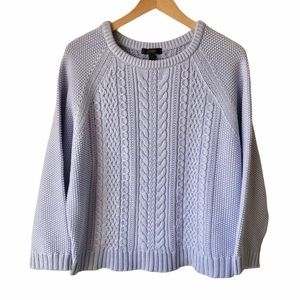 J. Crew Women's Lilac Cotton Cable Crew Sweater M